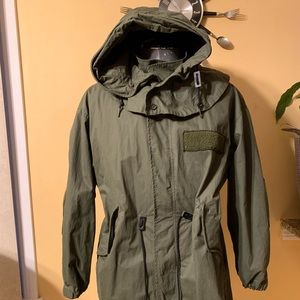 Heavy duty long coat with detachable vest.